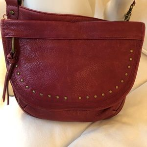 Fossil Red Leather Crossbody Bag!
